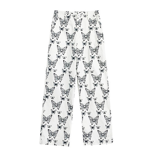 White Straight Pants with Butterflies Print
