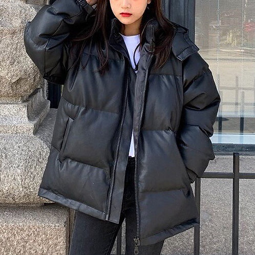 Black PU Leather Puffer Jacket