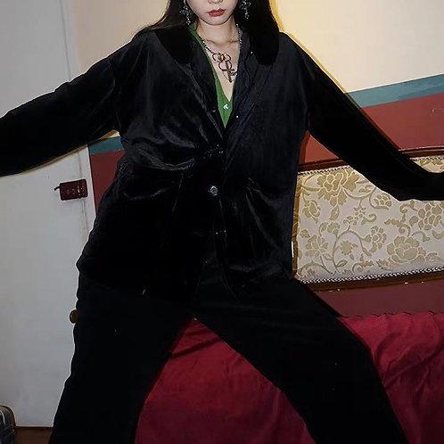 Black Velvet Long Sleeves Shirt
