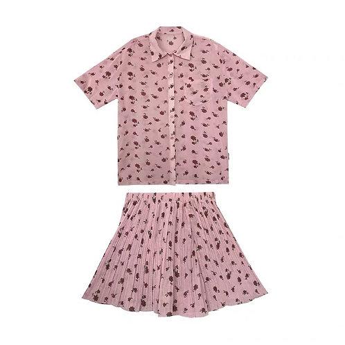 Pink Flower See Through Shirt & Skirt Set