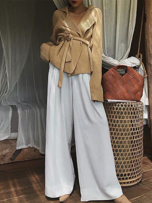 White High Waist Flared Suit Pants