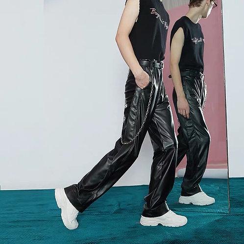 Unisex Black PU Leather Straight Pants