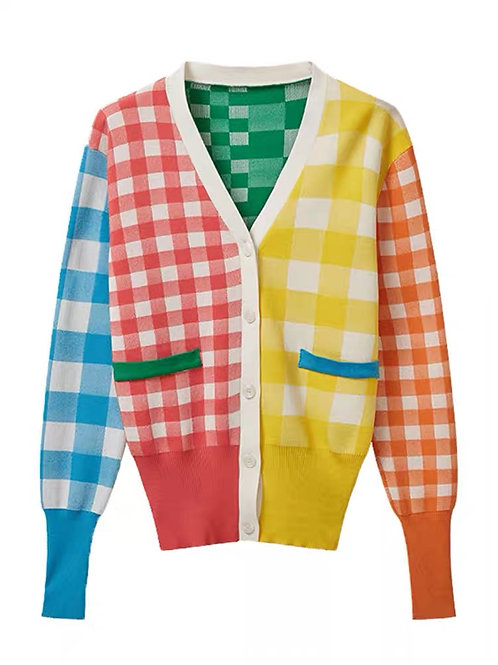 Checked colorful cardigan