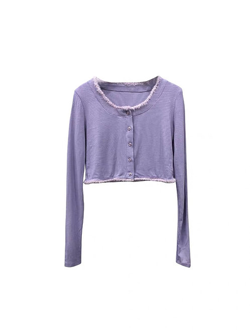 Purple Cropped Cardigan with Fluffy