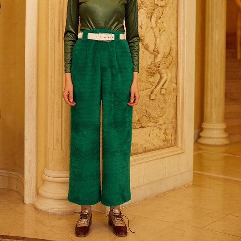Unisex Green High Waist Straight Pants