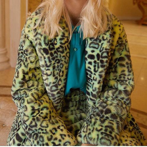 Unisex Light Green Leopard Print Faux Fur Jacket
