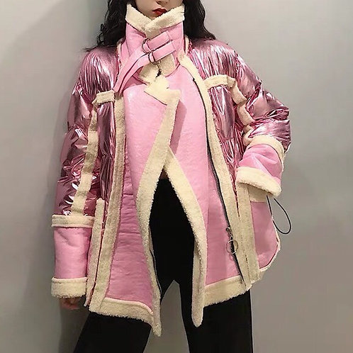 Pink/White Metallic Puff PU Leather Jacket