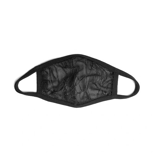 Black Lace Face Mask with Spider Net Pattern