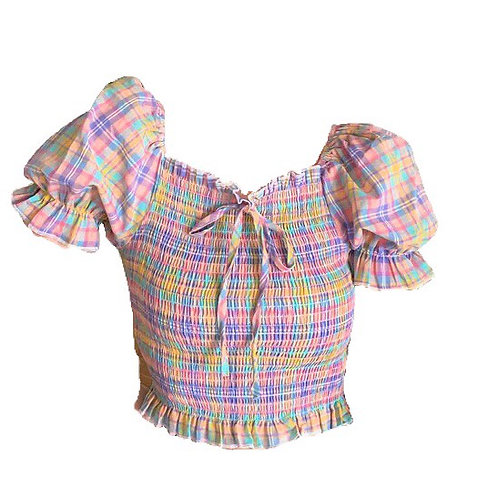 Candy Color Checked Top with Puff Sleeves