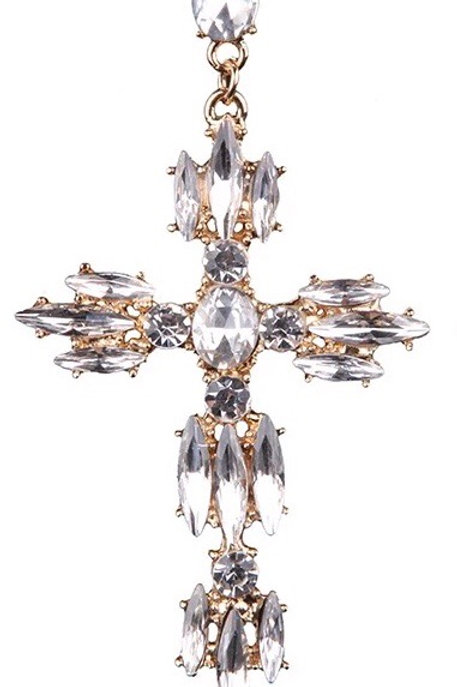 White Diamond Cross Earring