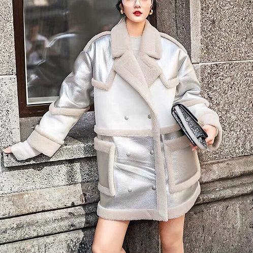 Silver/White Leather Faux Fur Cotton Coat