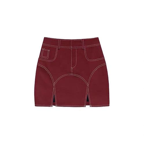 Wine Red High Waist Denim Skirt