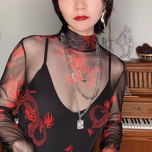 Red See Through Mash Top with Dragon Print