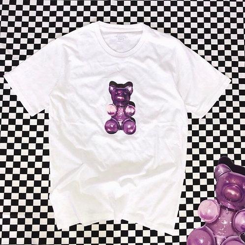 Unisex White T-shirt with Gummy Bear Print