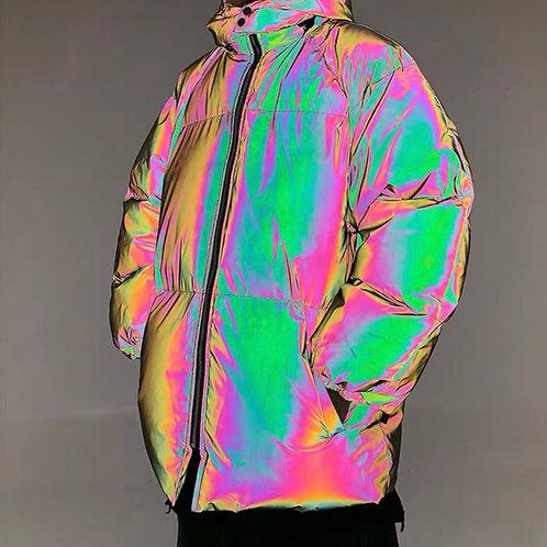 Unisex Colorful 3M Reflective Oversized Down Jacket
