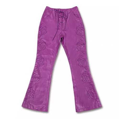 Purple Vegan Leather Flared Pants with Rave Pattern