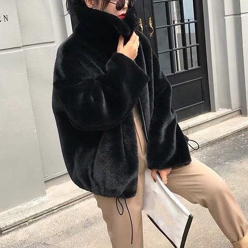 Black Faux Fur Short Jacket With Turtleneck