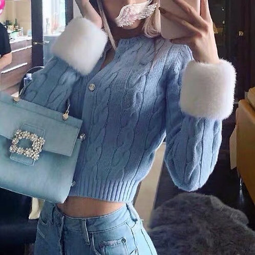 Baby Blue Cardigan with removable fluffy faux fur Collar and Cuff