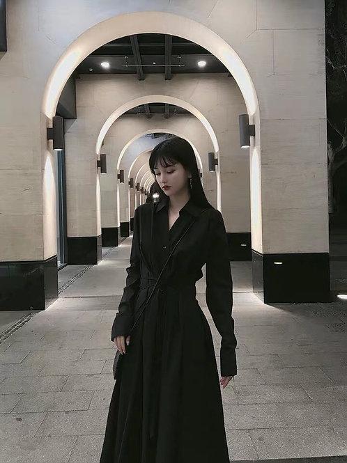 Black Long Sleeves Shirt Dress