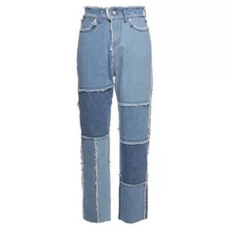 Patched blue jeans