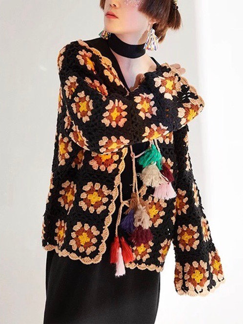 Handmade Crochet Cardigan with Vintage Pattern