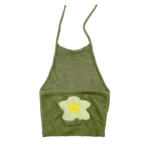 Fleece Strap Top with Flower Pattern
