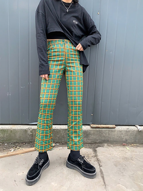 Green/Yellow Checked Cropped Pants