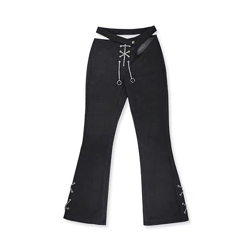 Black Cut Out Flared Jeans With Metal Drawstring