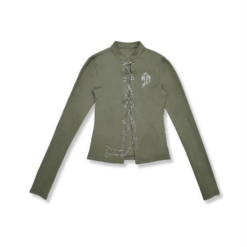 Green Long Sleeves Top with Metal Drawstring & Diamond