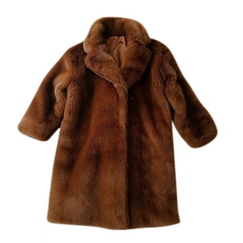 Brown Faux Fur Long Coat
