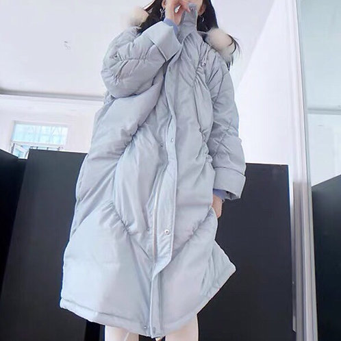 Babe Blue Cocoon Down Coat with Fluffy Faux Fur Hood Plume