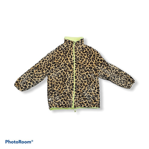 Brown and black leopard print fluffy jacket