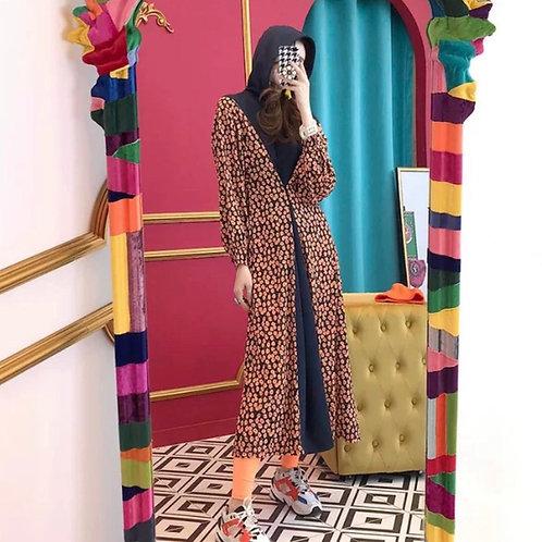 Black Long Sleeves Hooded Dress with Flower Print 🌺