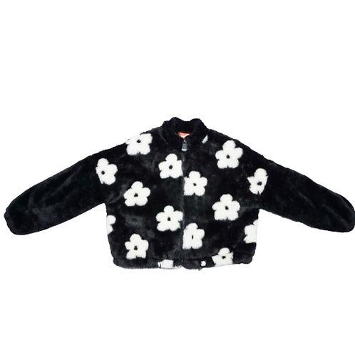 Black with white flower fluffy jacket
