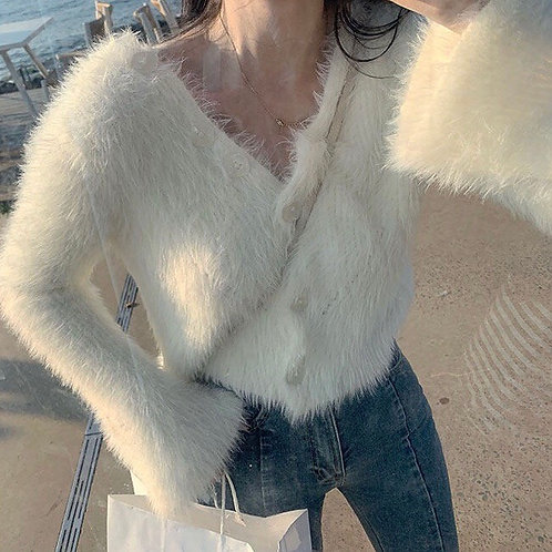 White Fluffy Mohair Top with Flared Sleeves