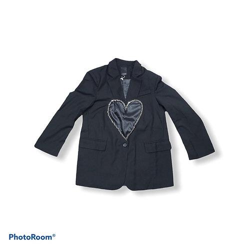 Black blazer with silk heart detail