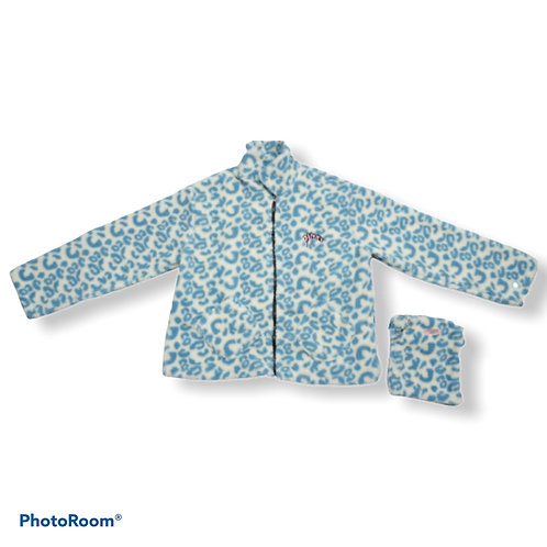 White and blue print fluffy jacket