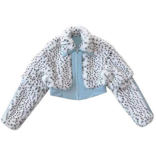 White Leopard Faux Fur Jacket with Blue Vegan Leather Spliced