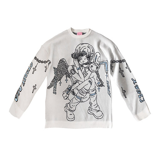 Starry Uff White Manga Girl Sweater