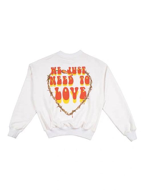 We just need love printed white sweater