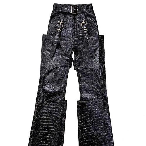 Faux Crocodile Skin High Waist Jeans
