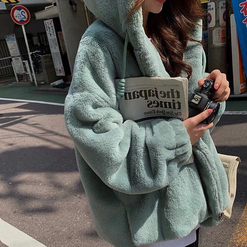Extra Warm Faux Fur Jacket with Hoodie