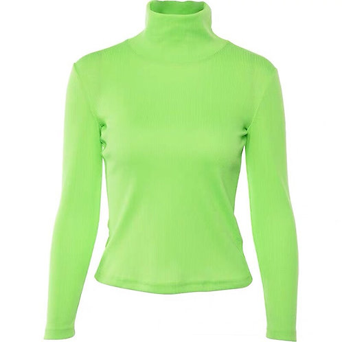 Neon Green Long Sleeves Top with Turtleneck