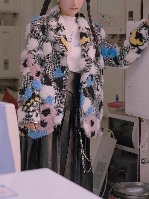 Extra Warm Colorful Flower Faux Fur Stitching Blazer