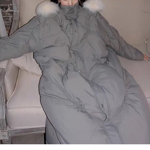 Grey Cocoon Down Coat with Fluffy Faux Fur Hood Plume