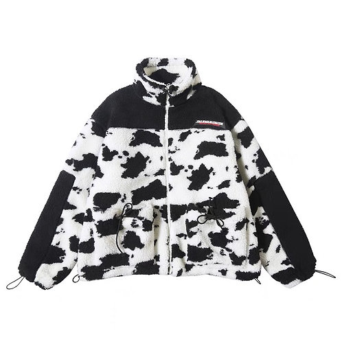 Black and white print fluffy jacket
