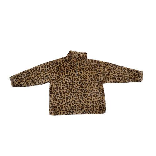 Leopard print brown fluffy jacket