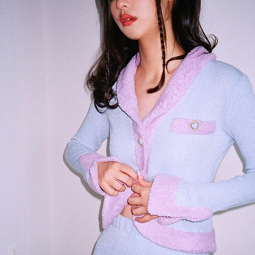 Blue/Purple Knitted Cardigan with Diamond Heart Diamond Buttons