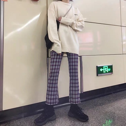 Purple/White Checked Cropped Pants