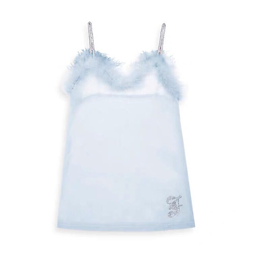 Babe Blue See Through Diamond Strap Mesh Top with Faux Fur and Diamond Details